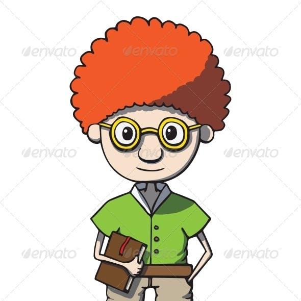 Cartoon Redhead Nerd Genius in Glasses