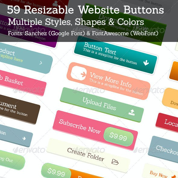 59 Web Buttons (Resizable)