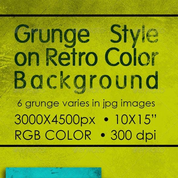 Grunge Style on Retro Color Background