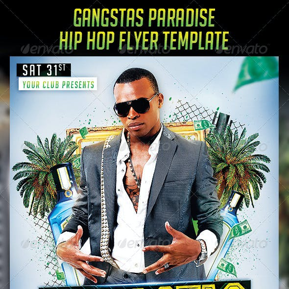 Gangstas Paradise Party Flyer Template