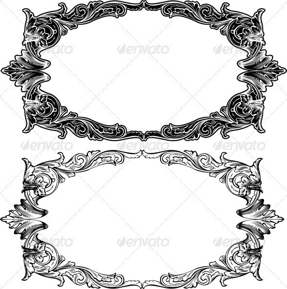 Two Antique Frame Engraving - Retro Technology