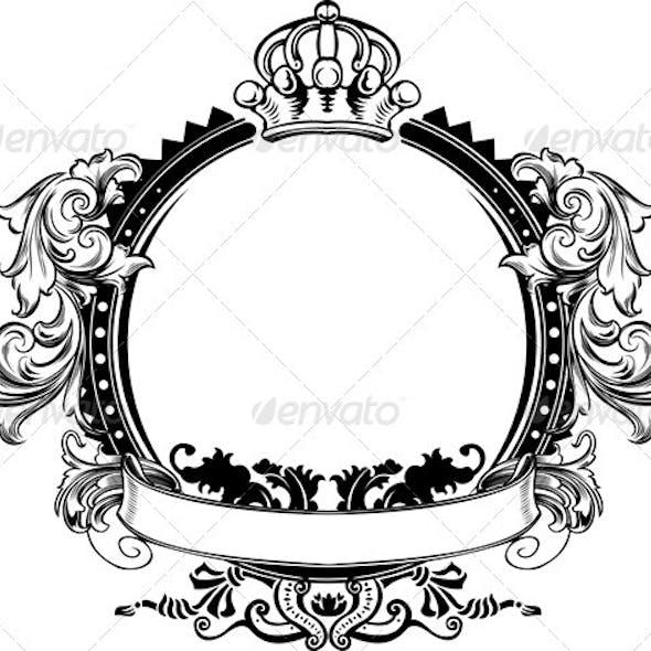 One Color Crown Vintage Ornate Curves Sign