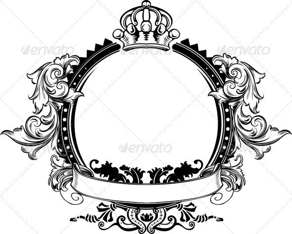 One Color Crown Vintage Ornate Curves Sign - Abstract Conceptual