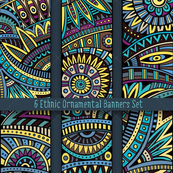 Ethnic Ornamental Banners Set