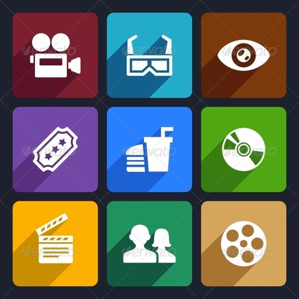 Movie Flat Icons Set 38