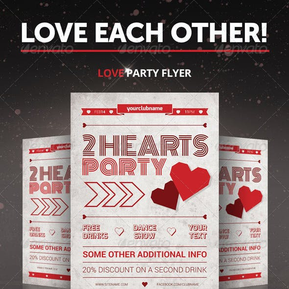 Two Hearts Party Flyer