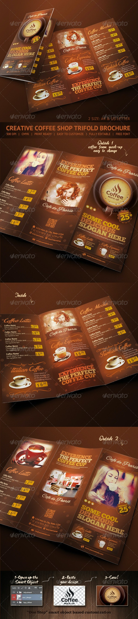 Trifold Brochure - Coffee Menu - Food Menus Print Templates