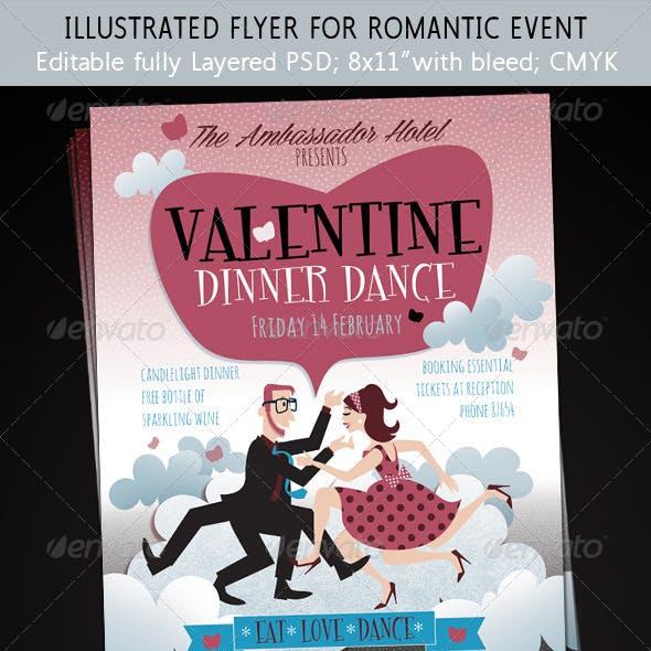 Valentine's Day Romance Illustrated Flyer