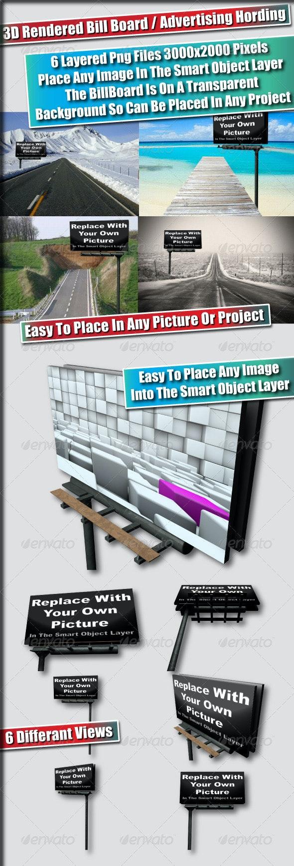3D Rendered Bill Board/Advertising Hording Mockups - Signage Print