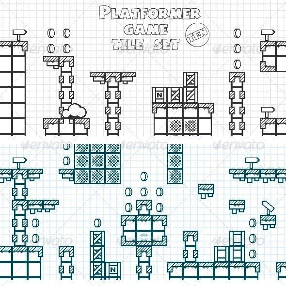 Platformer Game Tile Set Ten