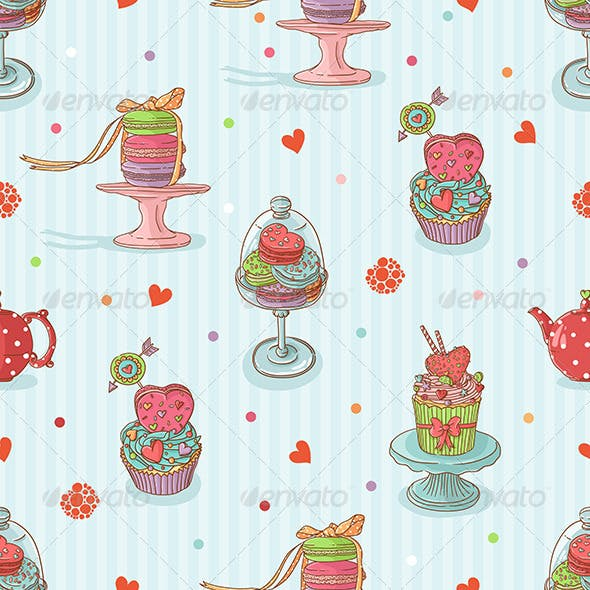 Seamless Pattern with Cake Illustrations