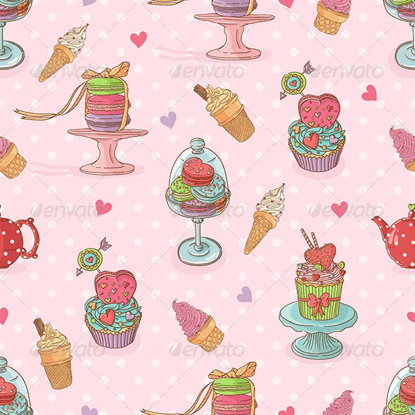 Seamless Pattern with  Cupcakes and Ice Cream