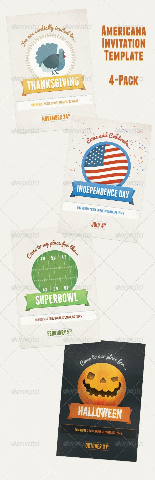 American Holiday Party Invitation Flyer Pack - Holidays Events