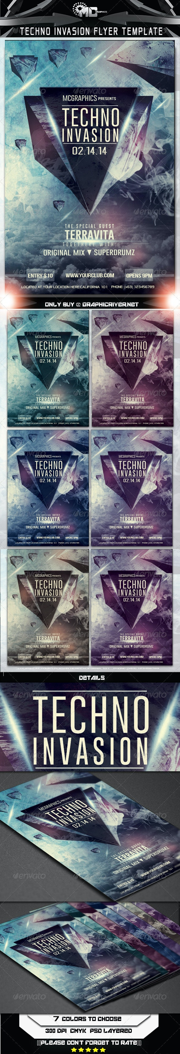 Techno Invasion Flyer Template - Flyers Print Templates