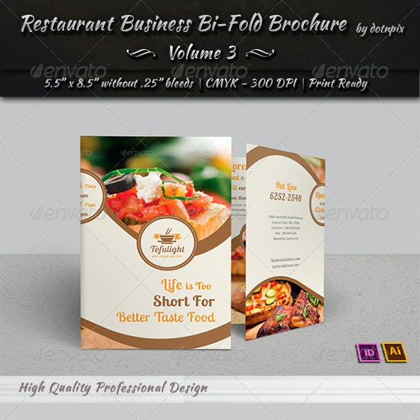Restaurant Business Bi-Fold Brochure | Volume 3