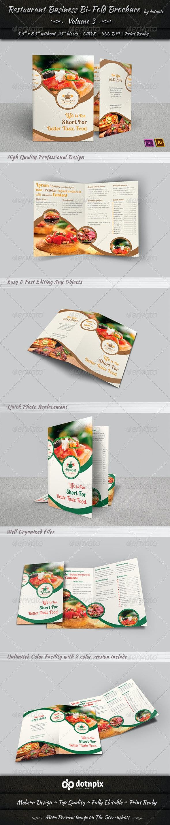 Restaurant Business Bi-Fold Brochure | Volume 3 - Brochures Print Templates