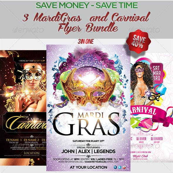 3 MardiGras n Carnival  Flyer Bundle