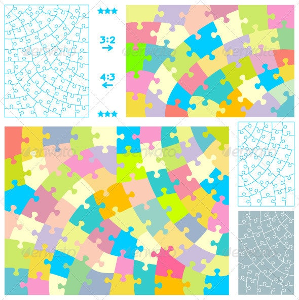Jigsaw Puzzles with Hand-Cut Style Guidelines - Conceptual Vectors