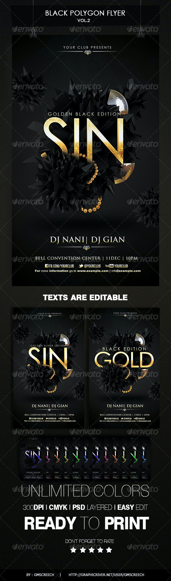 Black Polygon Flyer - Clubs & Parties Events