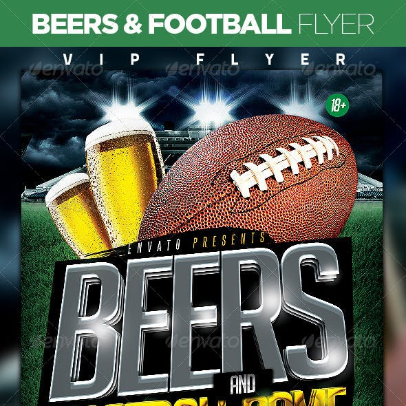 Beers and Football Flyer