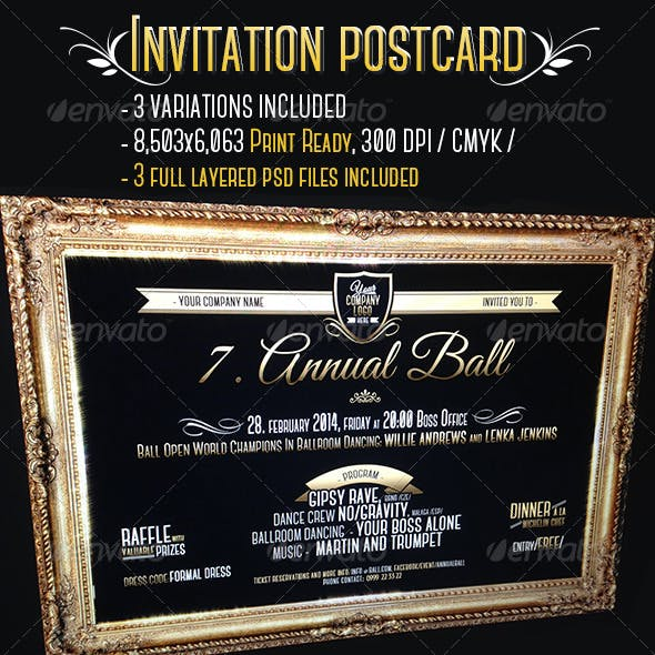 VIP Gold Frame Invitation Cards