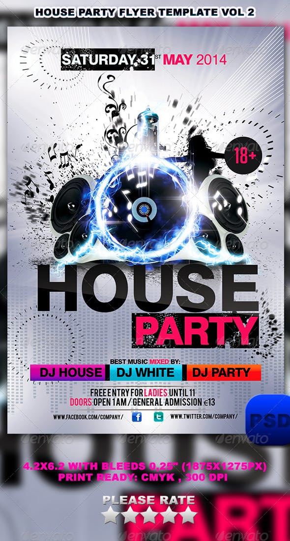 House Party Flyer Template Vol 2 Events Flyers