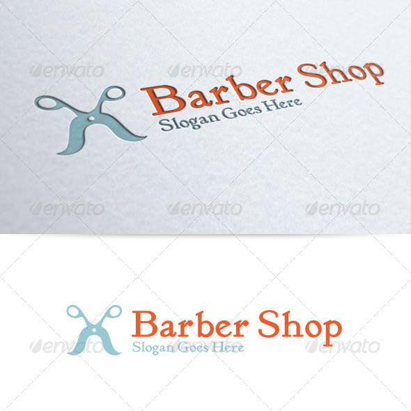 Mustache Scissors Barber Shop Logo
