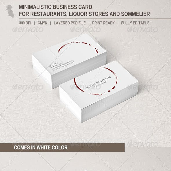 Business Card for Restaurants and Liquor Stores