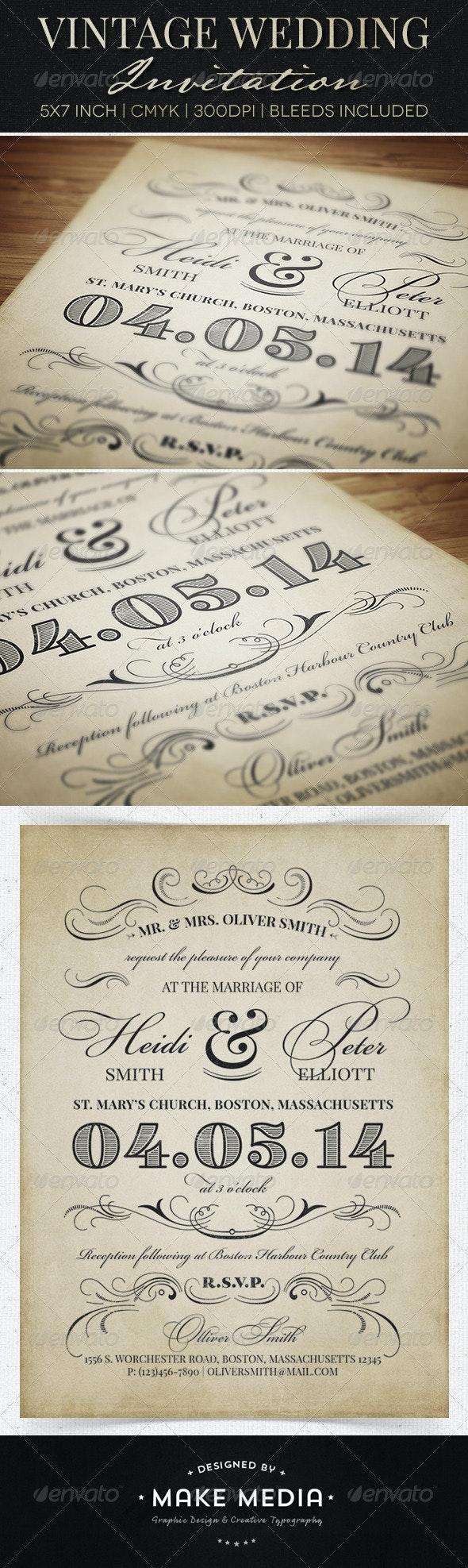 Vintage Wedding Invitation - Weddings Cards & Invites