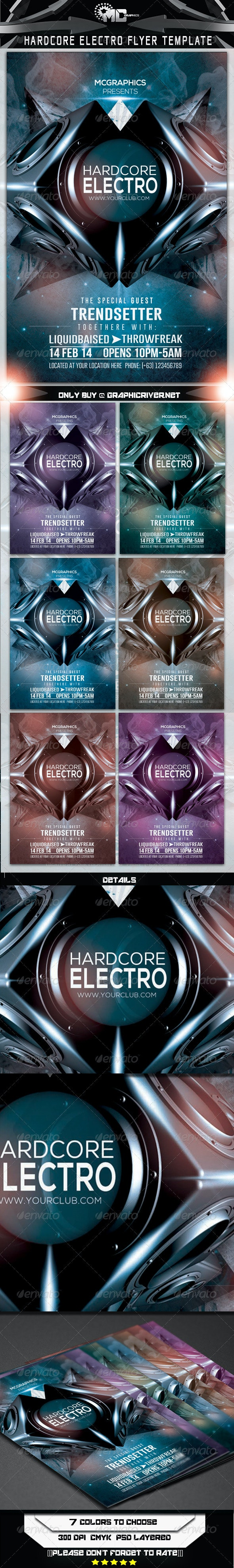 HardCore Electro Flyer Template - Clubs & Parties Events