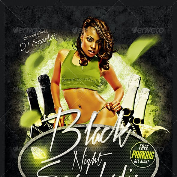 Black Night Sexy Ladis Flyer Templete