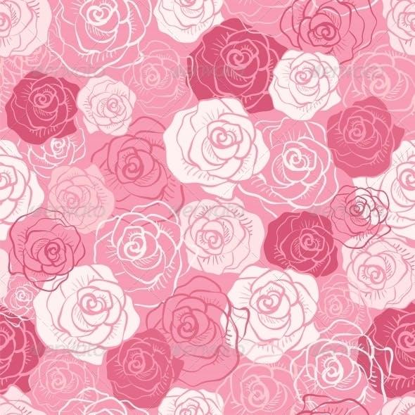 Rose Vector Seamless Pattern.