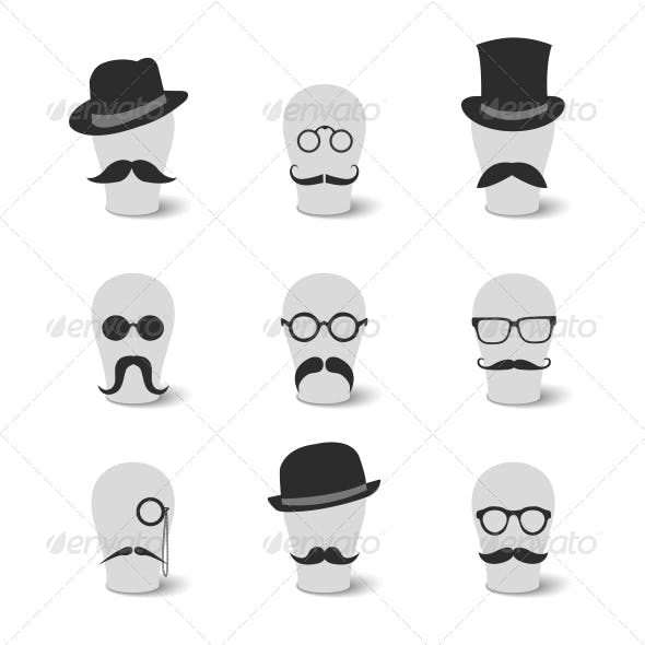 Vintage Mustaches with Hats and Glasses