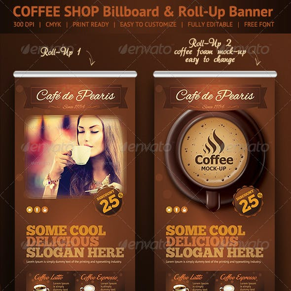 Coffee Shop Roll-Up Banner & Billboard Template