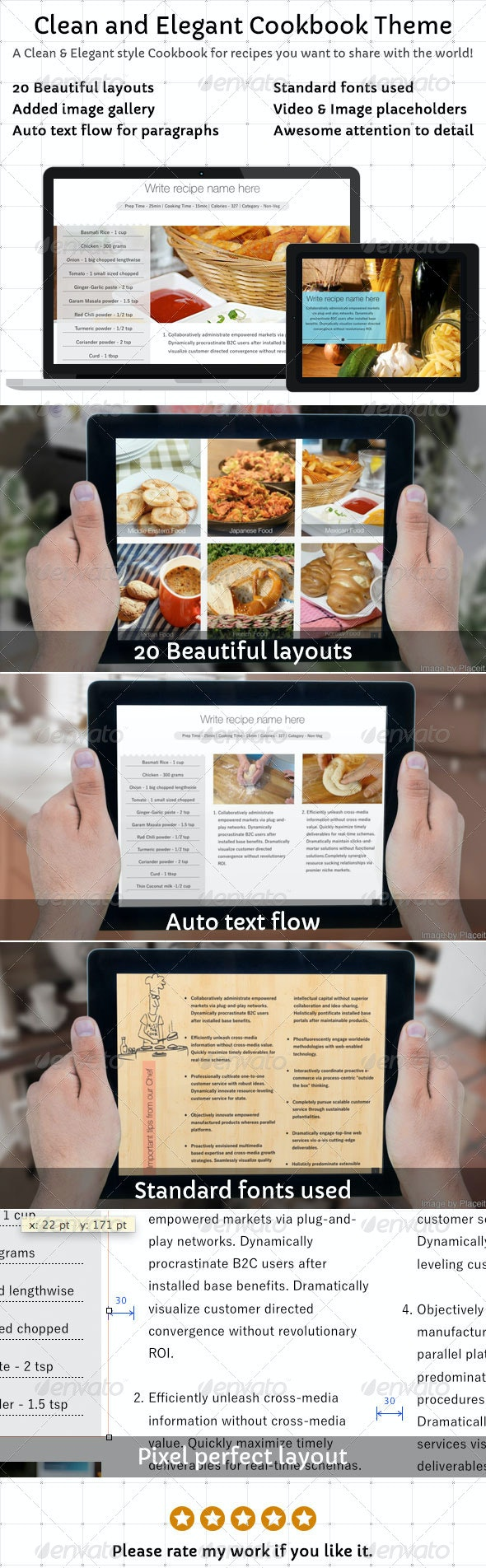 Clean and Elegant Cookbook Theme for iBooks Author - Digital Books ePublishing