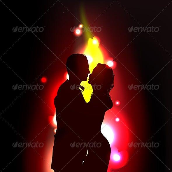 Silhouette of Romantic Couple