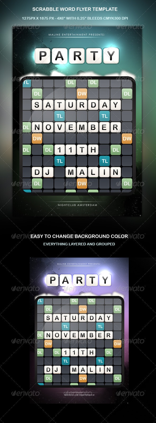 Scrabble Words Party Flyer - Clubs & Parties Events