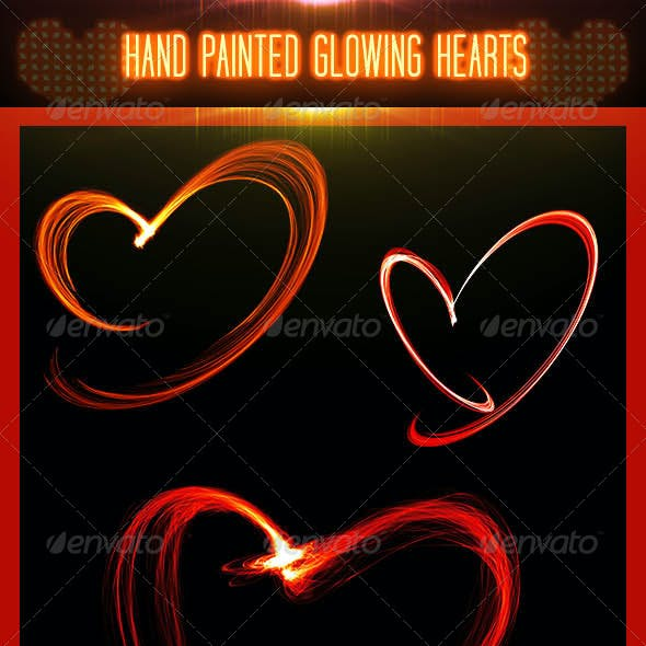 Hand Painted Glowing Hearts