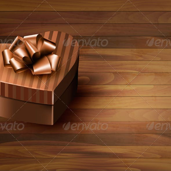 Heart-Shaped Gift Box on Wooden Background