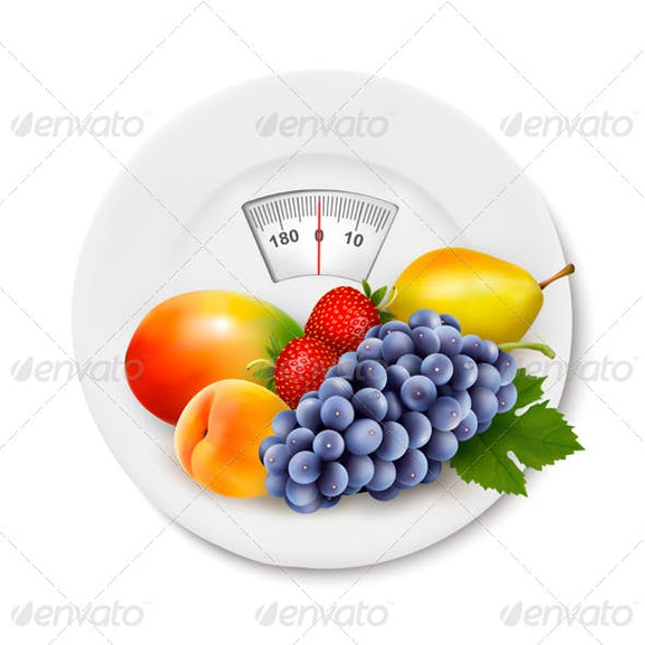 Fruit on the Weight Scale Diet Concept