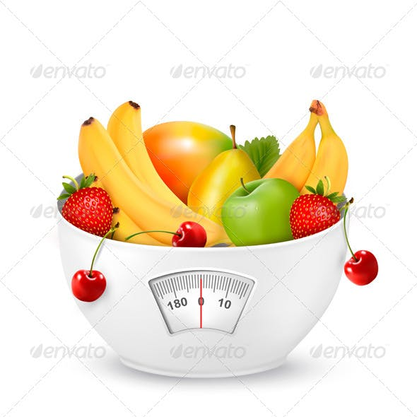 Fruit with in a Weight Scale Diet Concept