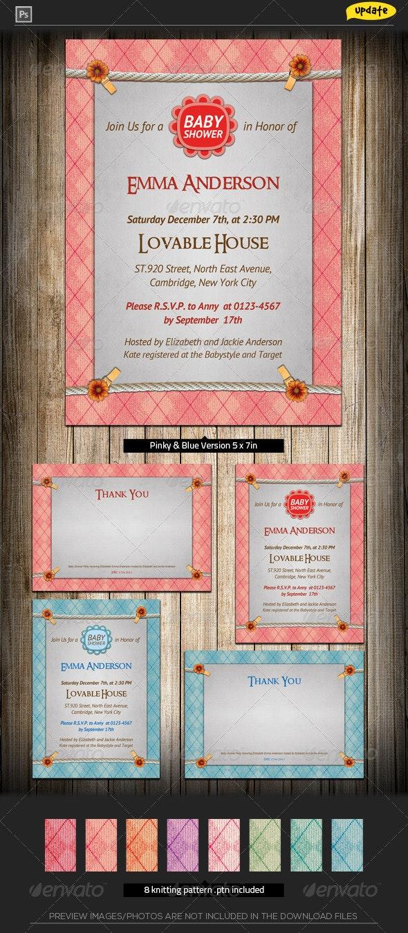 Baby Shower Invitation - Knitting Joy - Family Cards & Invites