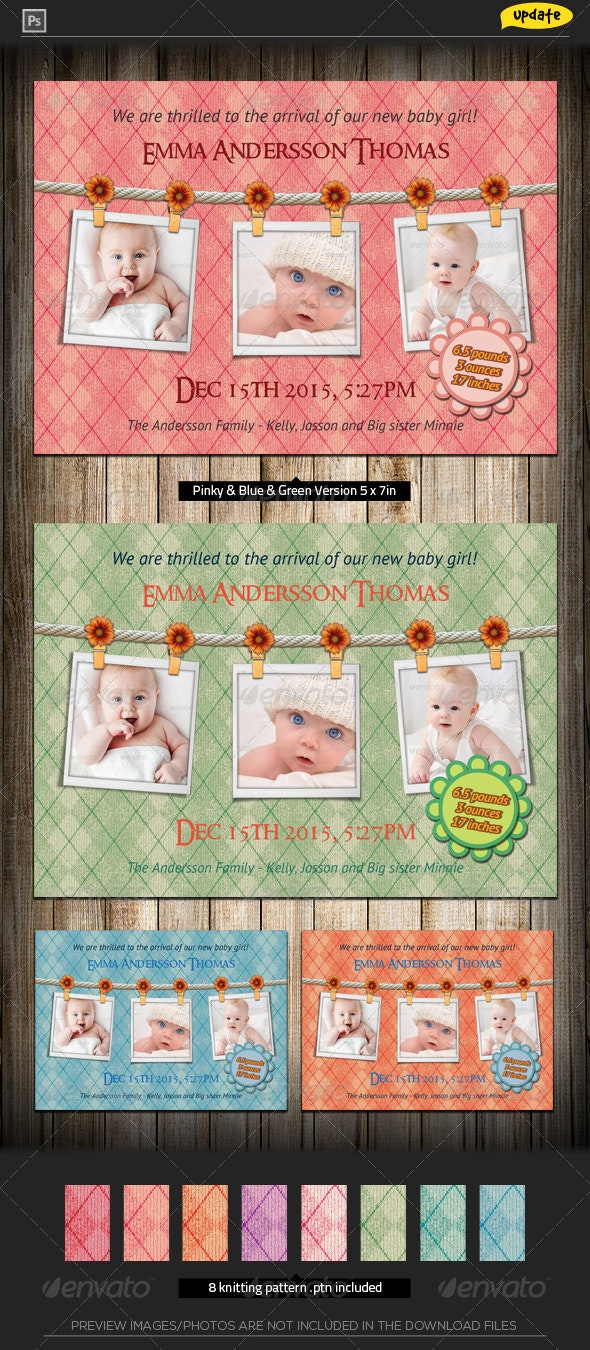 Baby Announcement Card - Knitting Joy - Family Cards & Invites