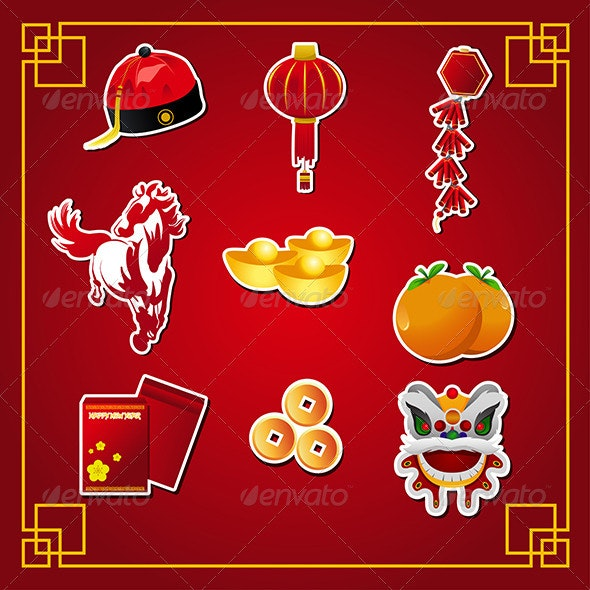 Chinese New Year Icons - Seasons/Holidays Conceptual