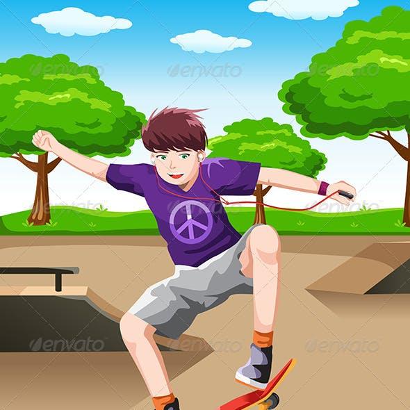 Happy Kid Playing Skateboard