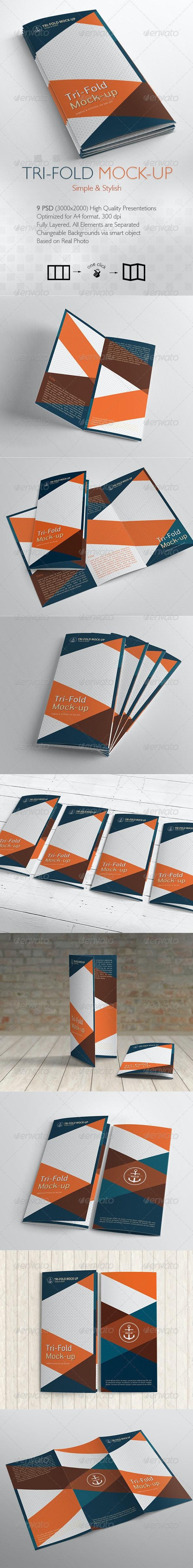 Tri-Fold Brochure Mock-up / 9 Different Images - Brochures Print