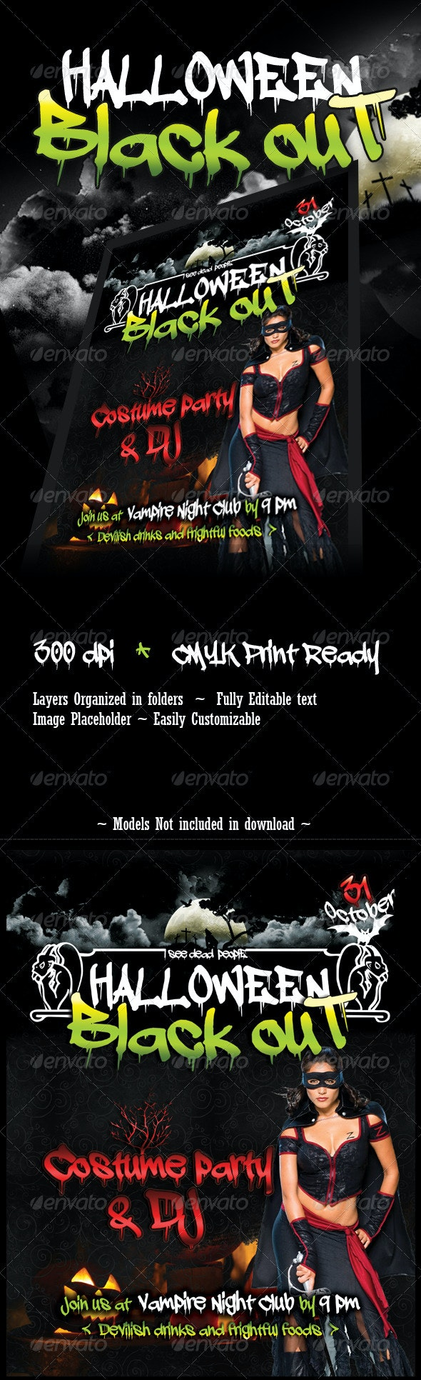 Halloween Blackout Flyer Template - Clubs & Parties Events