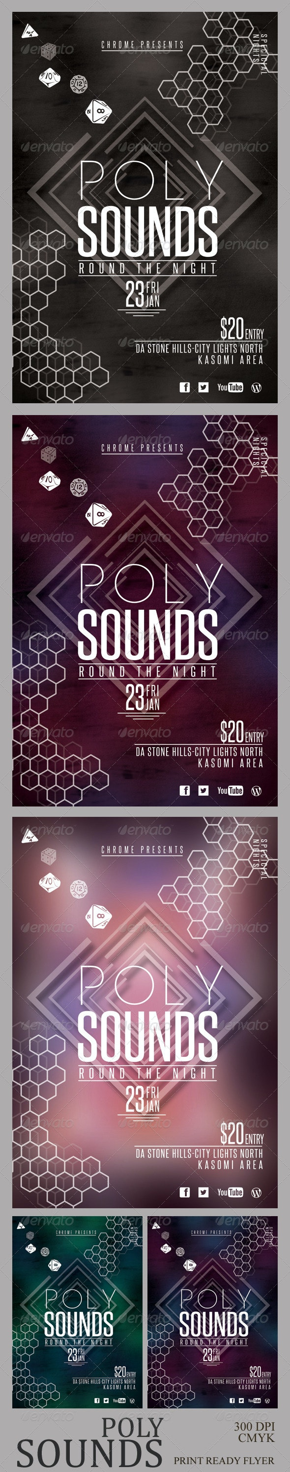 Poly Sounds Party Flyer  - Clubs & Parties Events