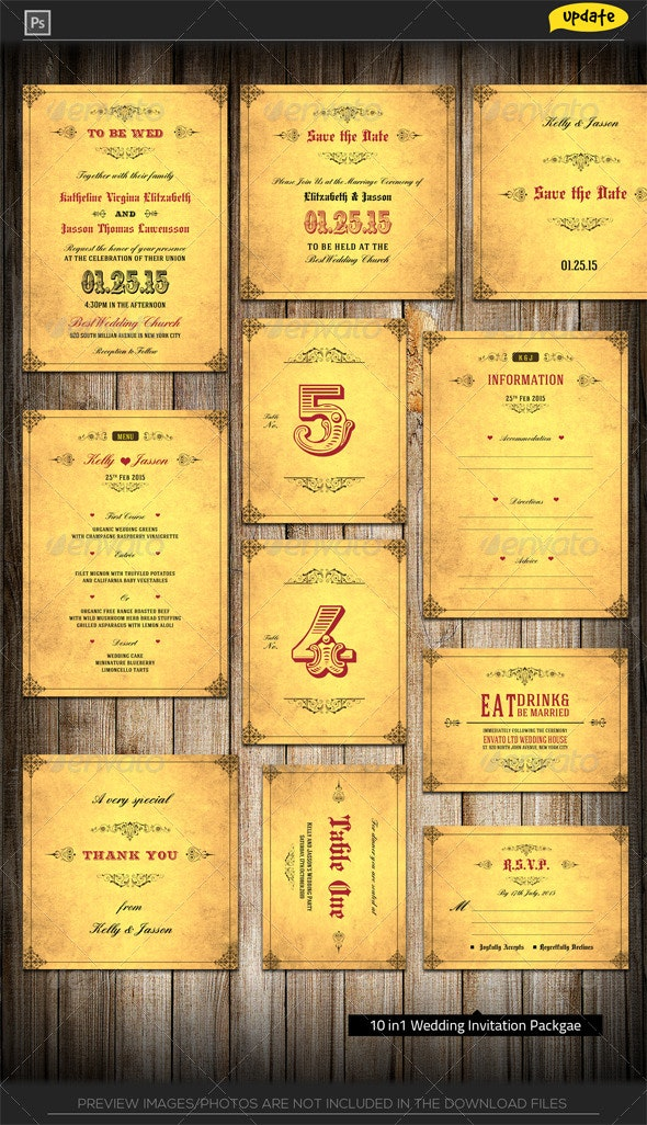 Wedding Invitation Package - Royal Golden