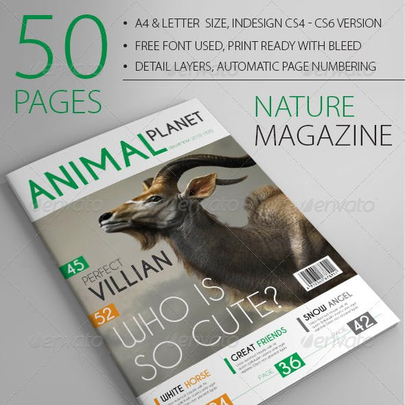 A4/Letter 50 Pages Nature Magazine